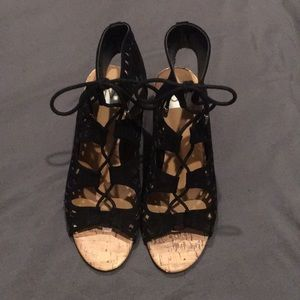 DV Black Lace-up Wedges Size 7